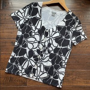 Ann Taylor lightweight cotton floral black white